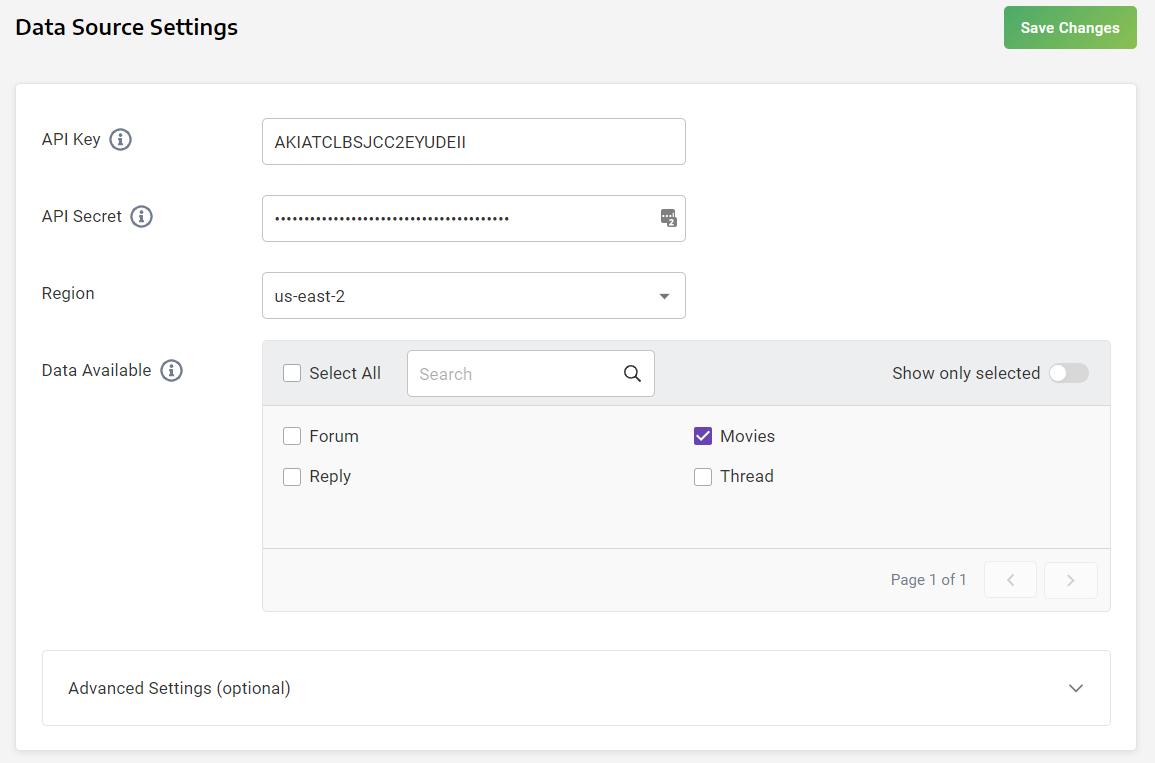 DynamoDB Data Source Settings