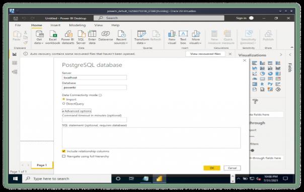 PostgreSQL database gets data screen