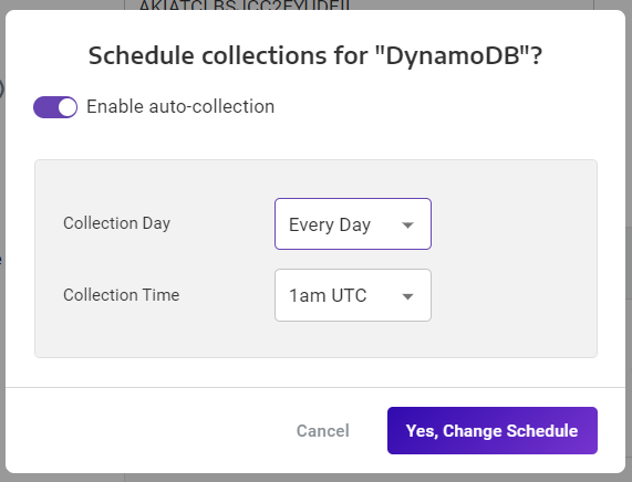 A screenshot showing how to schedule collections for your DynamoDB data source.