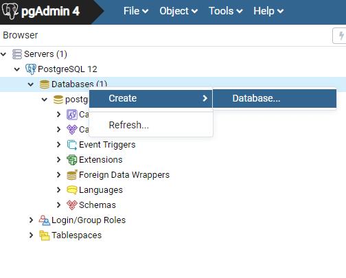 PostgreSQL new database in pgAdmin