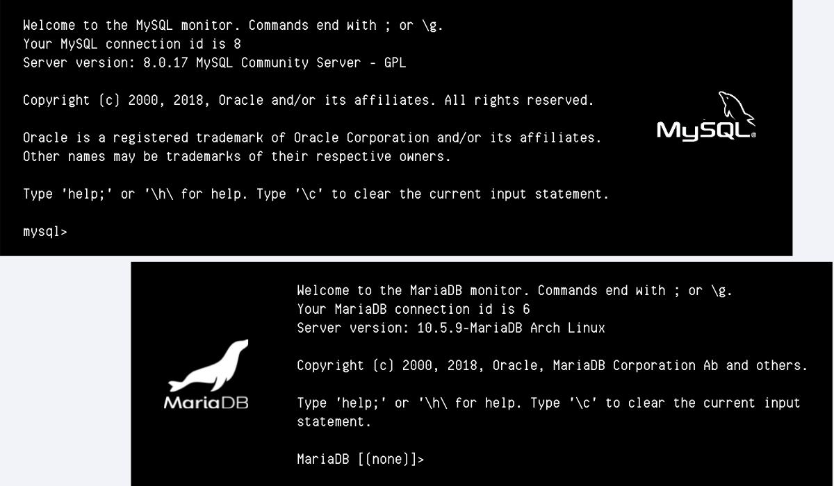Screenshots of the MySQL and MariaDB command line clients. Almost all of the copy is the same.