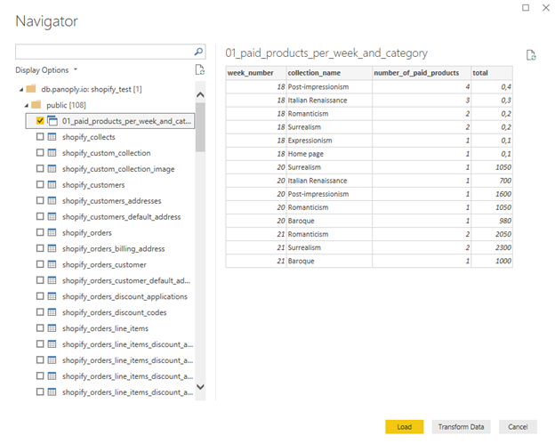 Power BI Tables