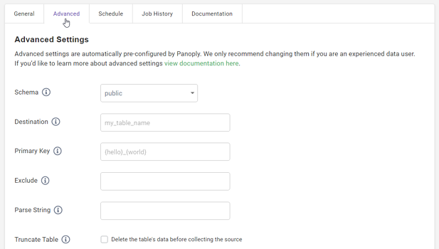 Shopify Data Source Advanced Settings