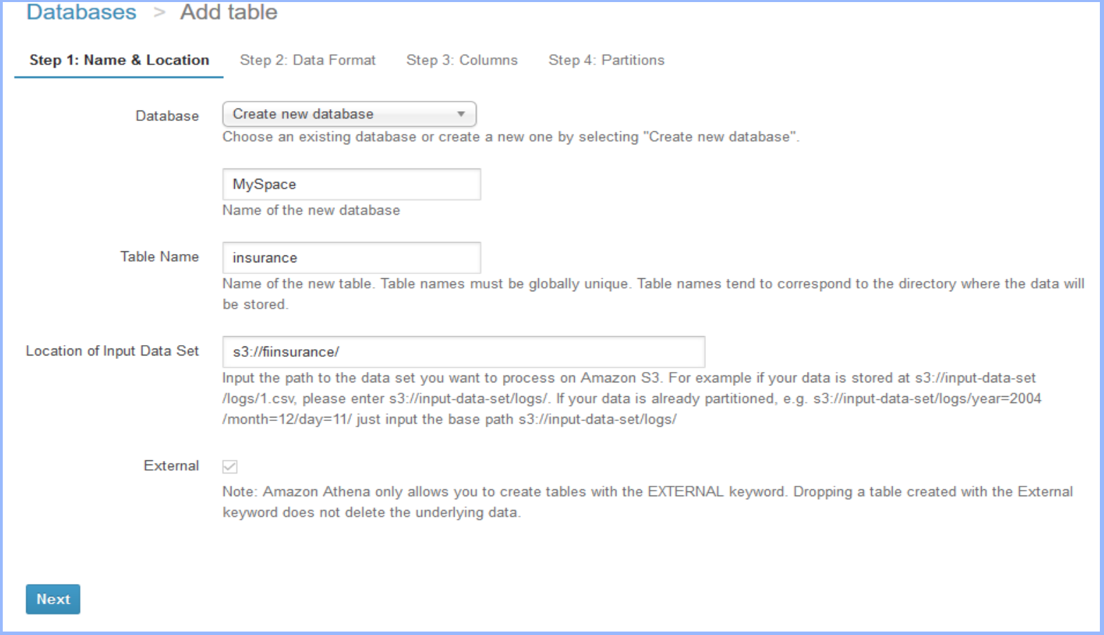 Create a database - Athena.png