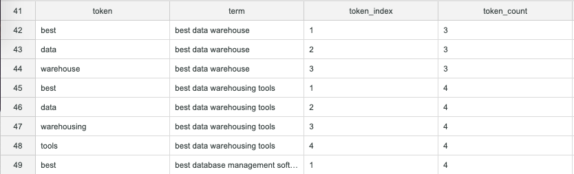 Search query tokens